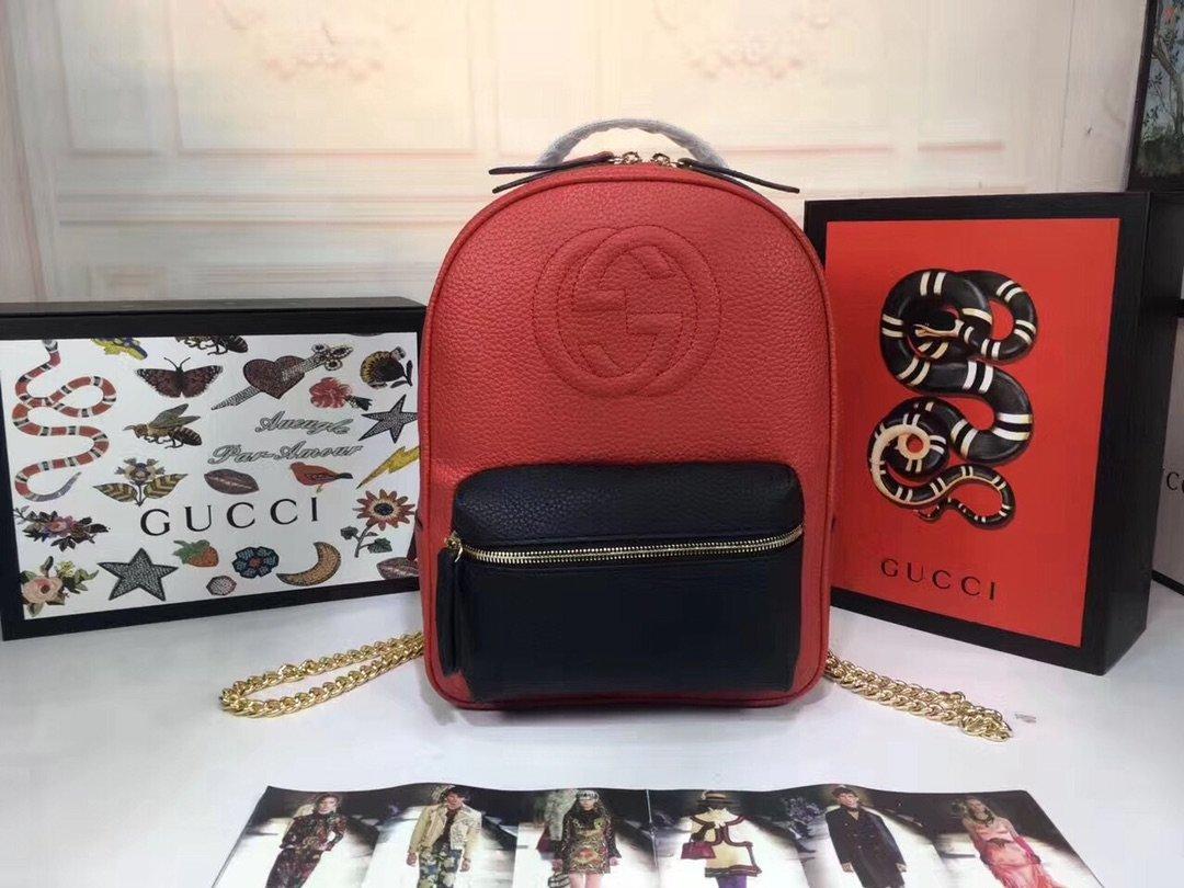 gucci ソーホー コピー-赤黒 レザーリュック GG型押しロゴ グッチバックパック おしゃれ 年齢 層 人気 N級 偽物販売