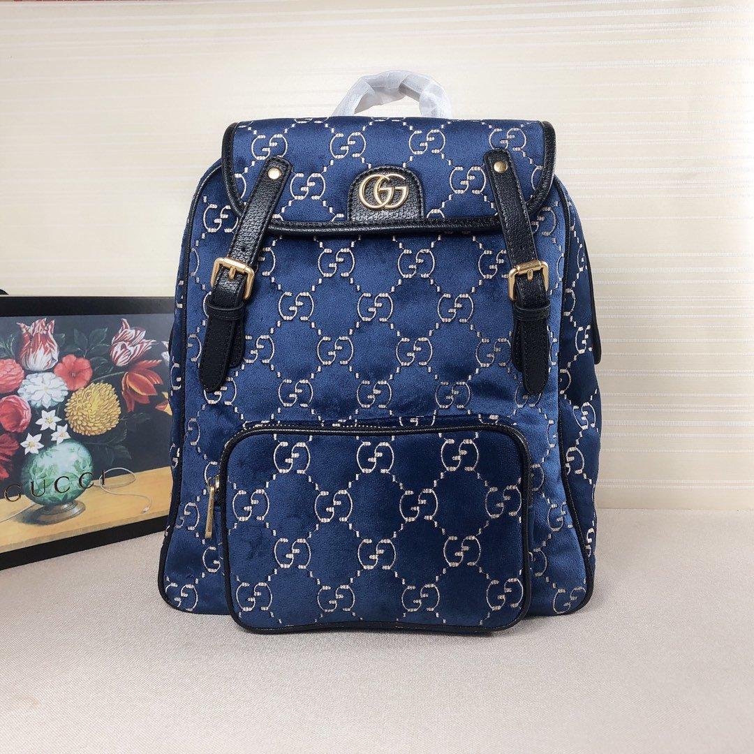 グッチ ベルベット リュック 偽物-ブルー バックパック 2019aw 90年代大学生 ファッション GGロゴ N級 口コミコピー通販
