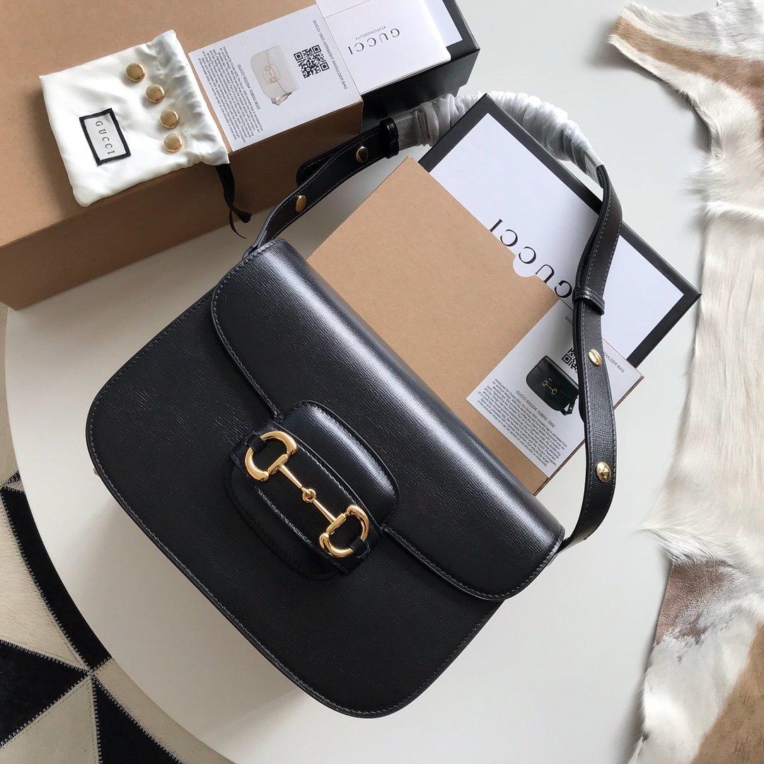 グッチホースビットバッグコピー-黒 レザーショルダーバッグ 斜めがけ 2020ss フラップ ズミロゴ レディース偽物販売
