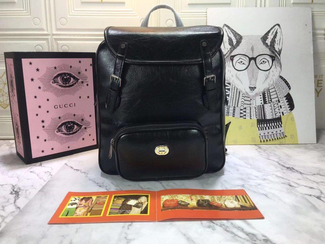 グッチ リュック 大学生-コピー 黒 レザーバックパック 2019aw 90年代 大学ファッション GGロゴ N級 口コミ偽物通販