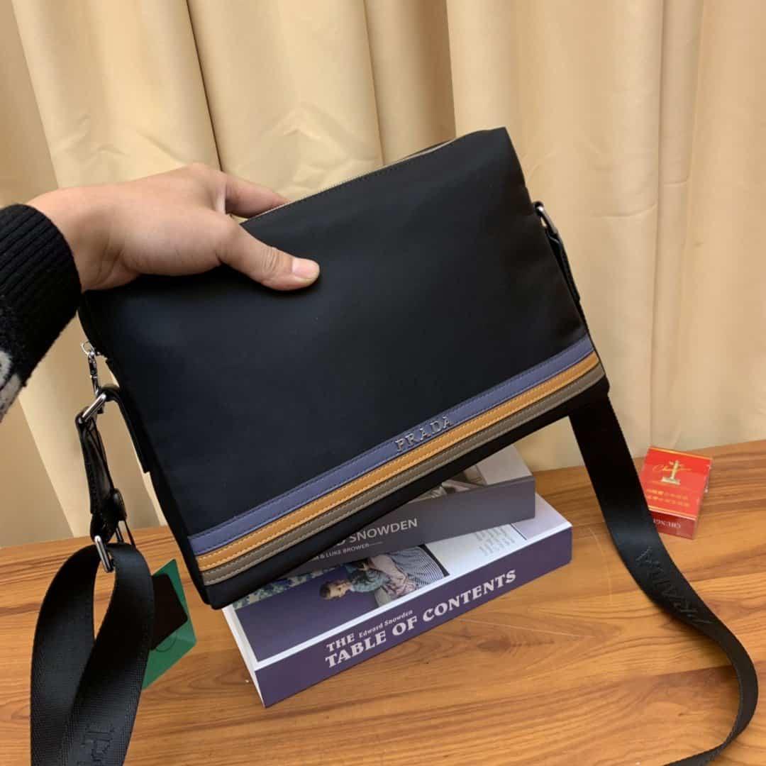 ボディバッグ メンズ ブランド コピー-プラダ 黒 斜めがけ鞄 キャンバス ショルダー レザー おしゃれ 大人気2020 偽物店舗