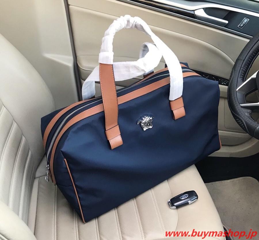 ヴェルサーチ ボストンバッグ-偽物 ブルー トラベルバッグ 旅行 N級 口コミ 高品質 ナイロン 人気 30代 スーパーコピーブランド販売