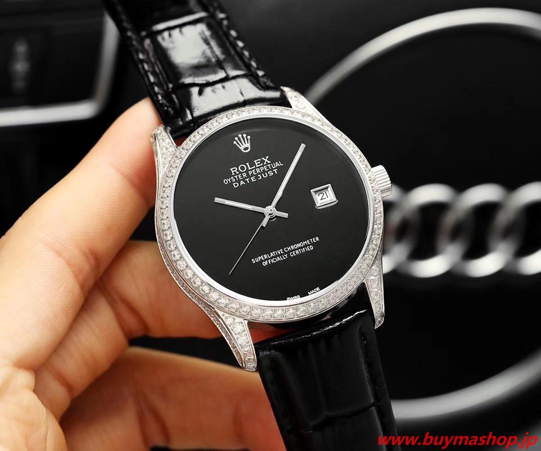 ロレックス デイトジャスト ダイヤ-偽物 ブラック メンズ腕時計 オールダイヤ TOXIC 41mm シチズン82 時計 ブランド 安い