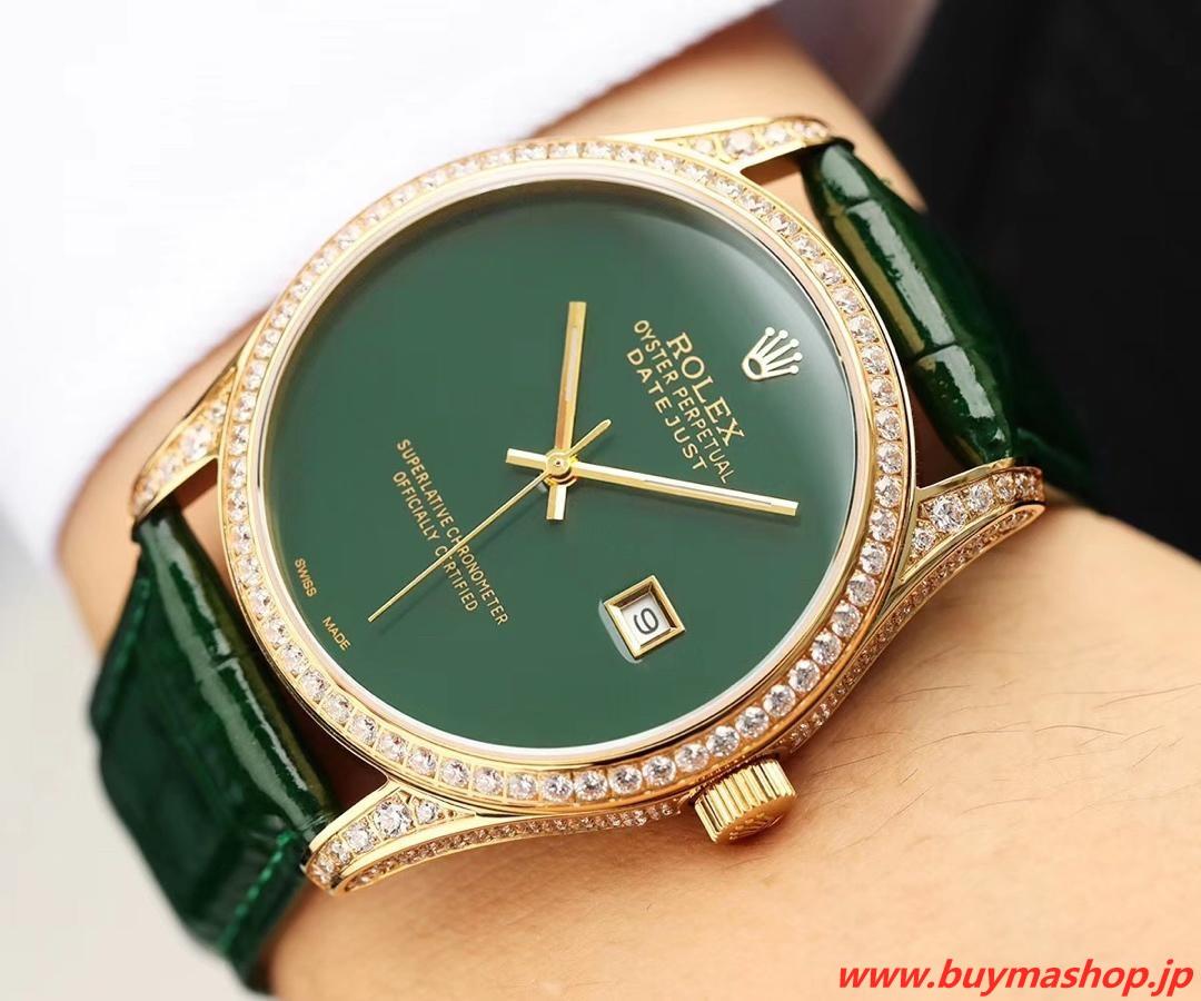 ロレックス ダイヤベゼル メンズ-偽物 グリーン メンズ腕時計 オールダイヤ TOXIC 41mm シチズン82 時計 ブランド 安い