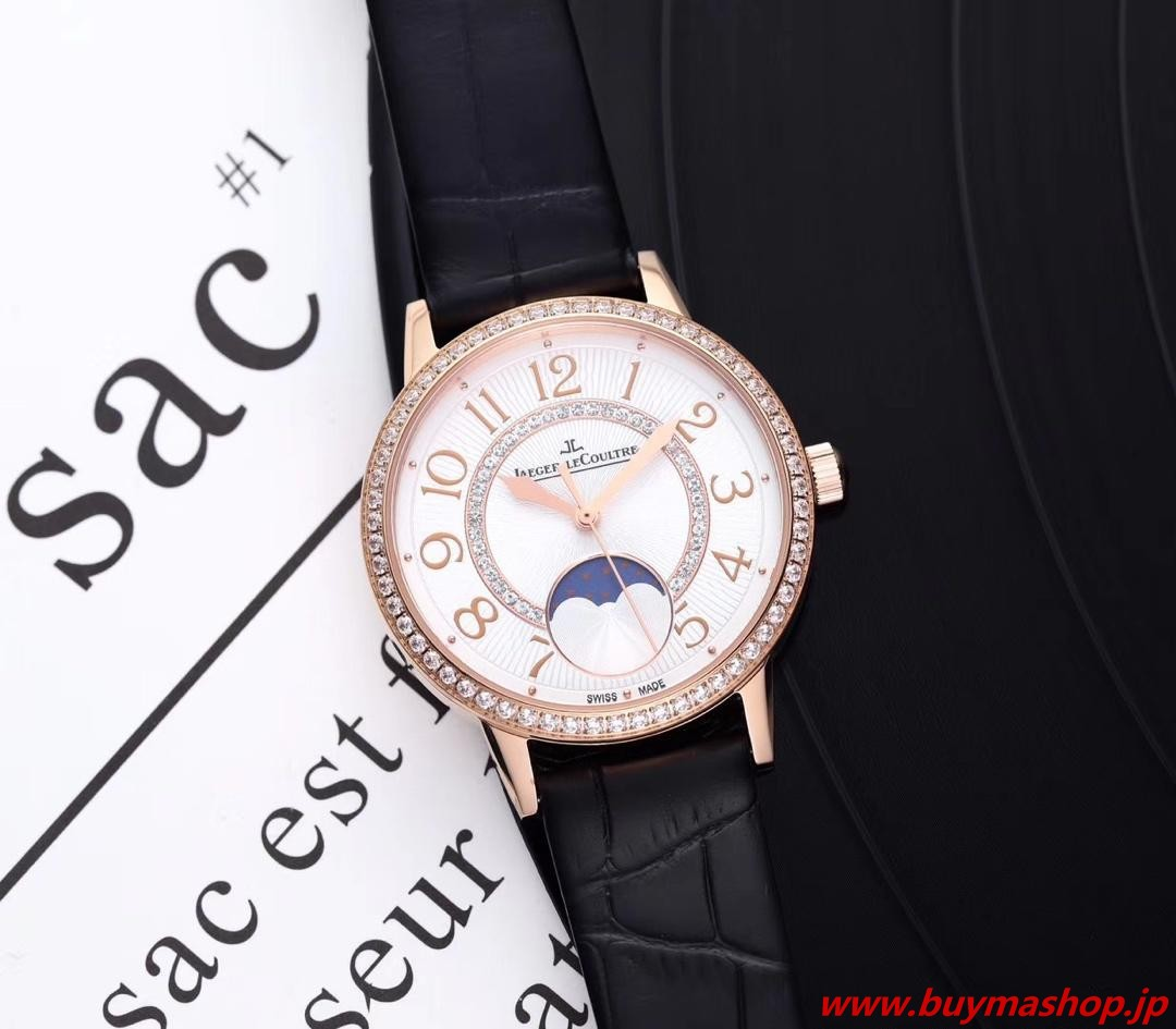 ジャガールクルト ムーンフェイズ 中古-偽物 ローズゴールド ウィメンズ腕時計 ダイヤ 三日月形 デート ロマンチックな 美しい ムーンフェイズ