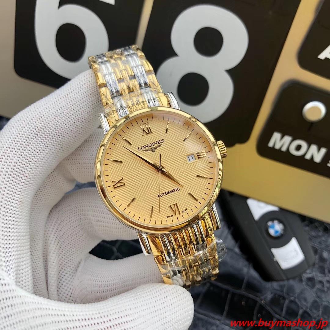 ロンジン 偽物 オンライン ショップ-ゴールド イエロー メンズ腕時計 自動巻き 機械式 41mm 時計 ブランド 安い
