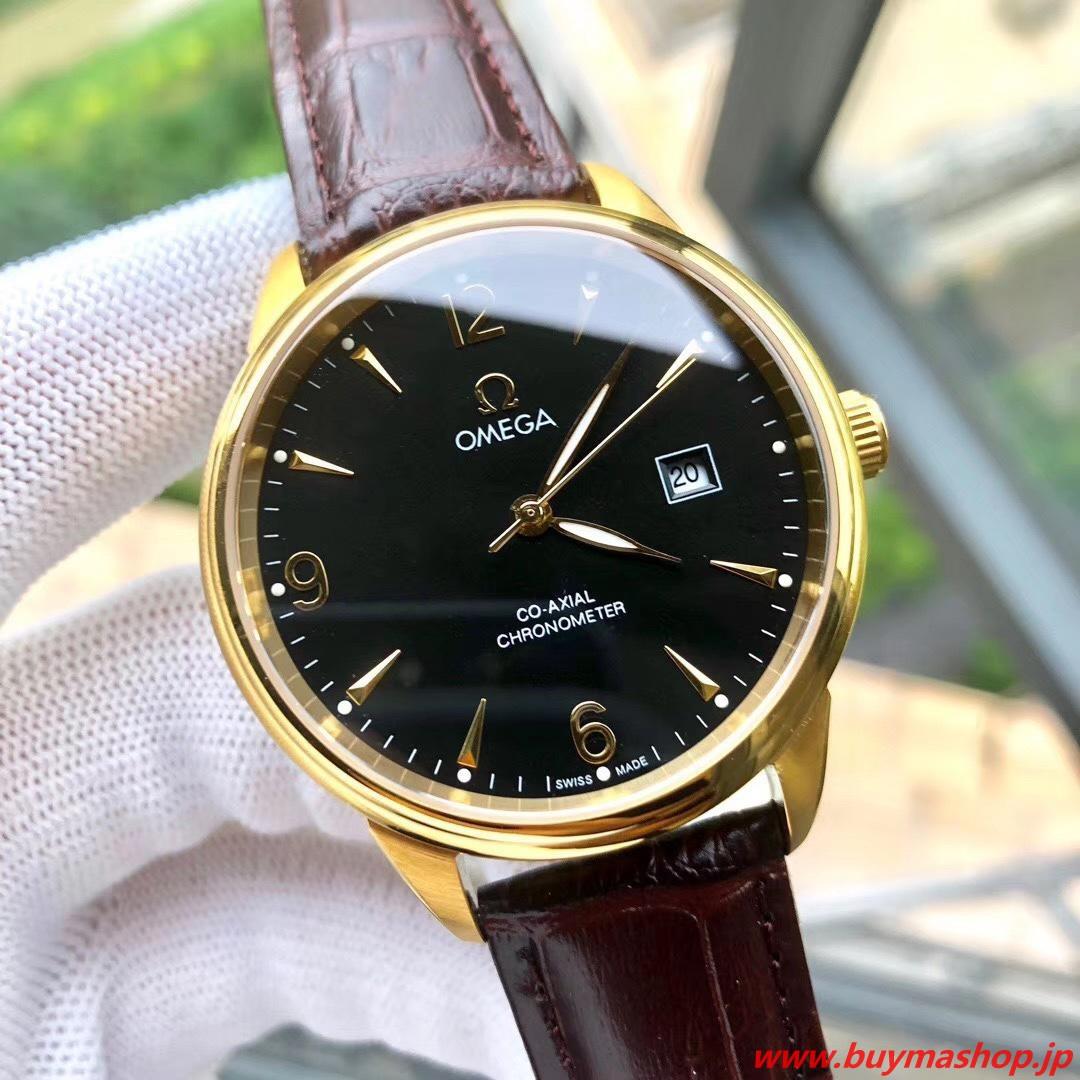 オメガ シーマスター コーアクシャル クロノメーター-偽物 黒ゴールド メンズ腕時計 40mm 316L シチズン8215 時計 ブランド 安い