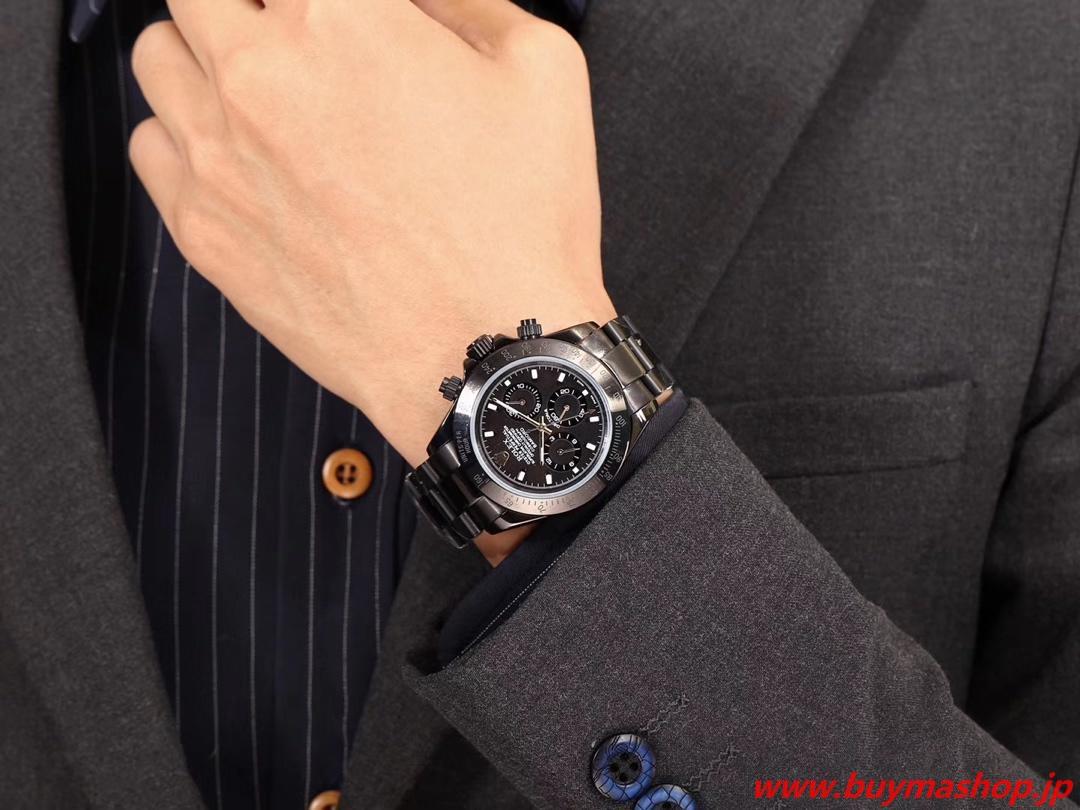 ロレックスデイトナスーパーコピー代引き-黒 75周年記念モデル メンズ腕時計 43mm ハイグレード 贅沢 ファッション 時計 ブランド 安い
