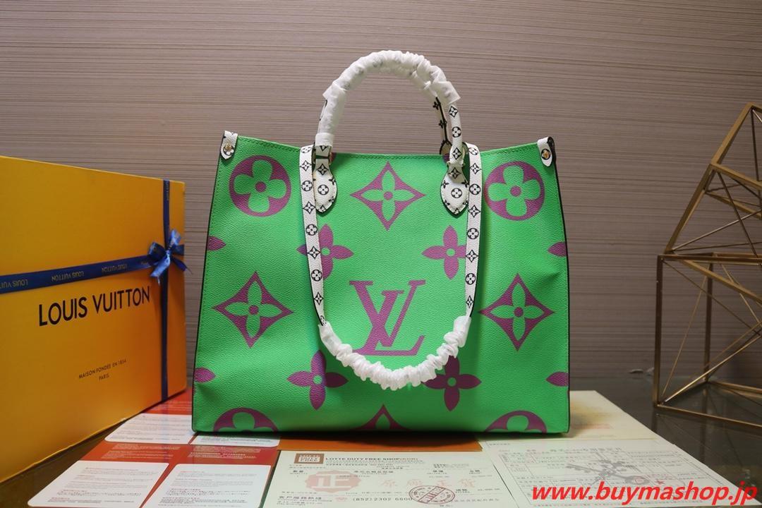 ヴィトン オンザゴー 安い-コピー 紫緑 トートバッグ ジャイアント gm 2019aw 人気 両面 モノグラムトリミング ブランド偽物店舗