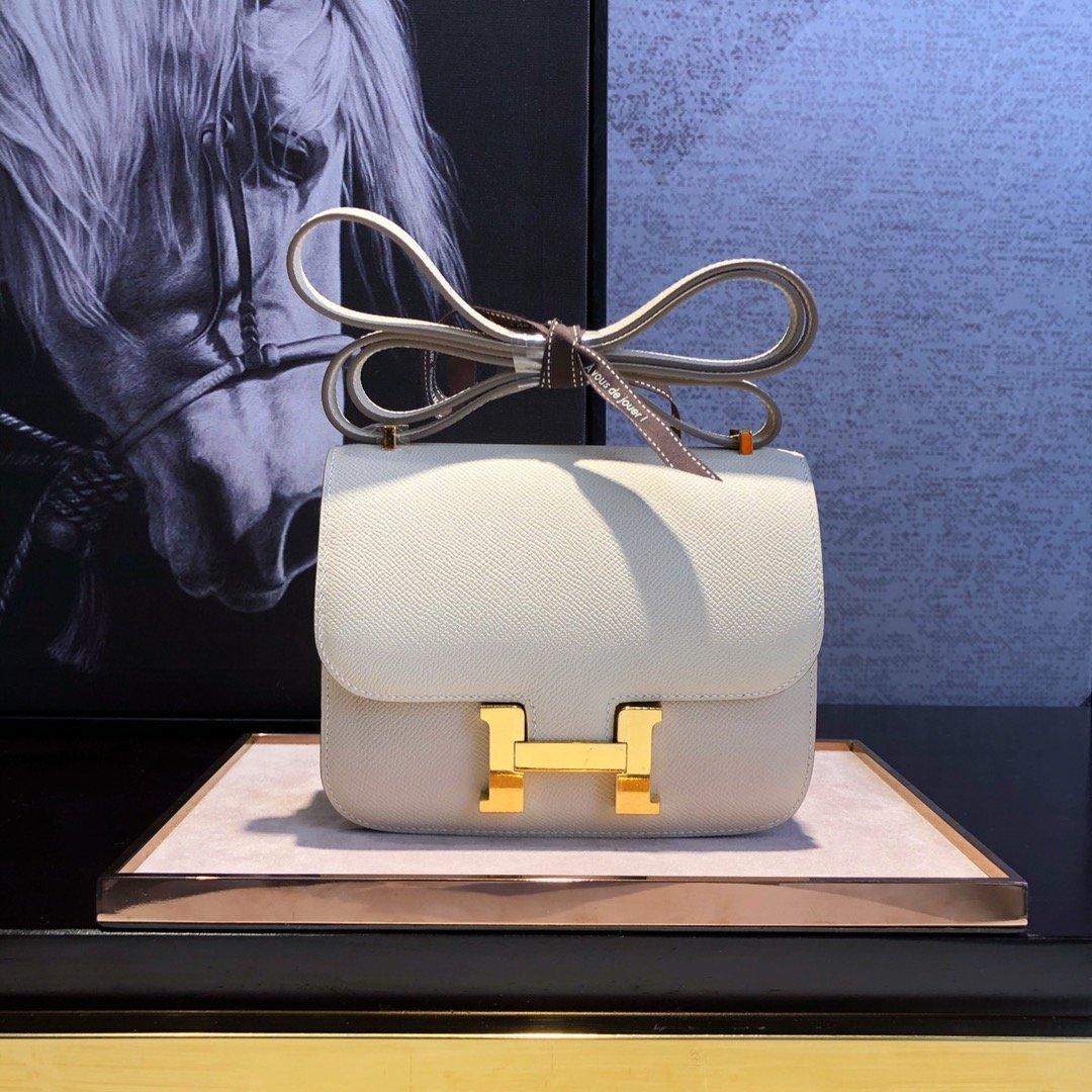 エルメス コンスタンス ブログ-偽物 白 ミニ レザー ショルダーバッグ ゴールドHロゴ ハンドメイド 19cm 客室乗務員用バッグ