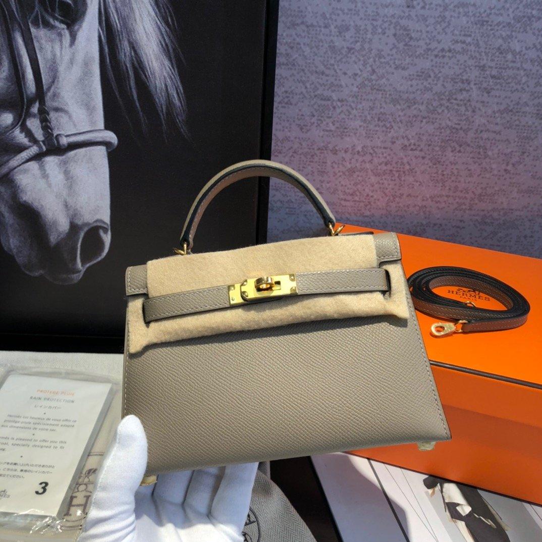 エルメスケリーバック-コピー グレー ミニ レザーハンドバッグ 19 二代目 スタッズ 高品質 N級 偽物ブランド販売