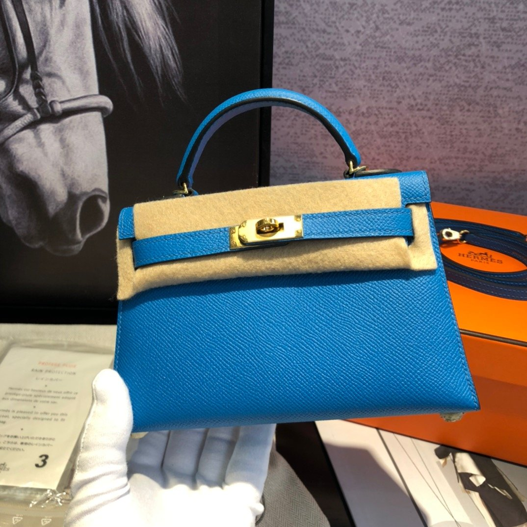 エルメス ケリー-コピー 青 ミニ レザーハンドバッグ 19 二代目 スタッズ 高品質 N級 偽物ブランド販売