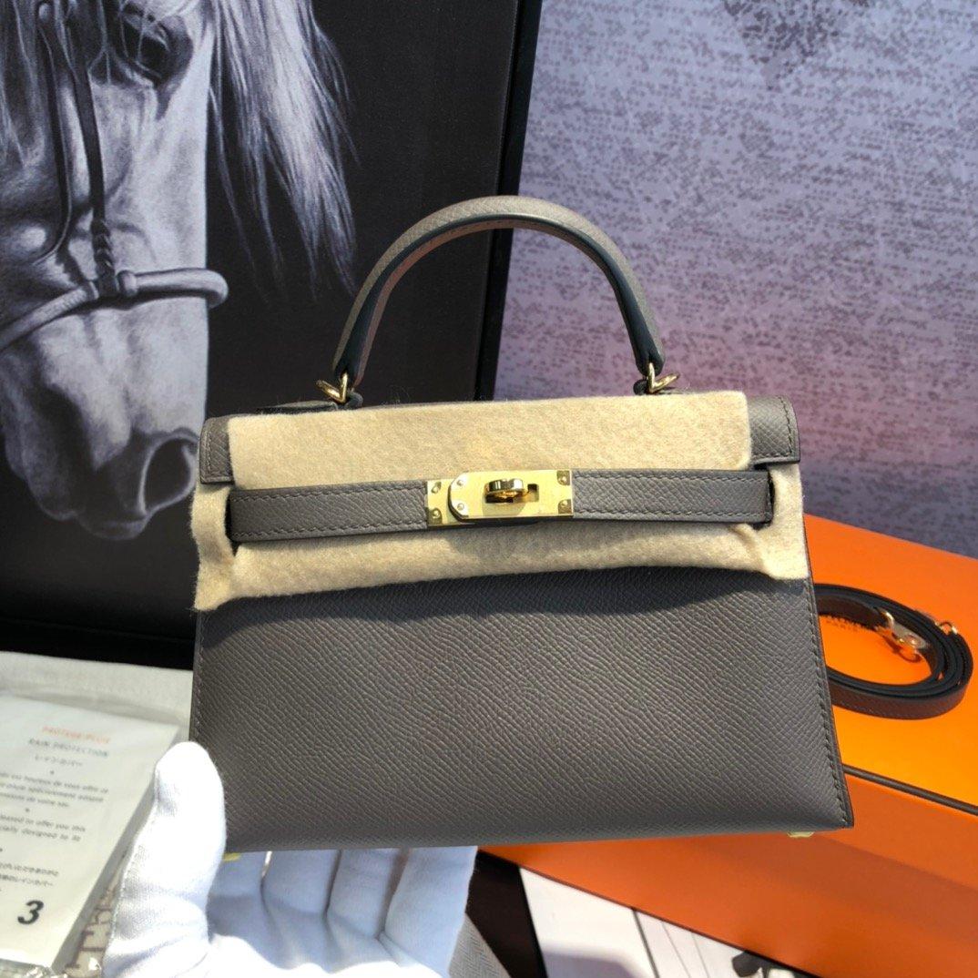 エルメス ケリー バーキン-コピー ダークグレー ミニ レザーハンドバッグ 19 二代目 スタッズ 高品質 N級 偽物ブランド販売