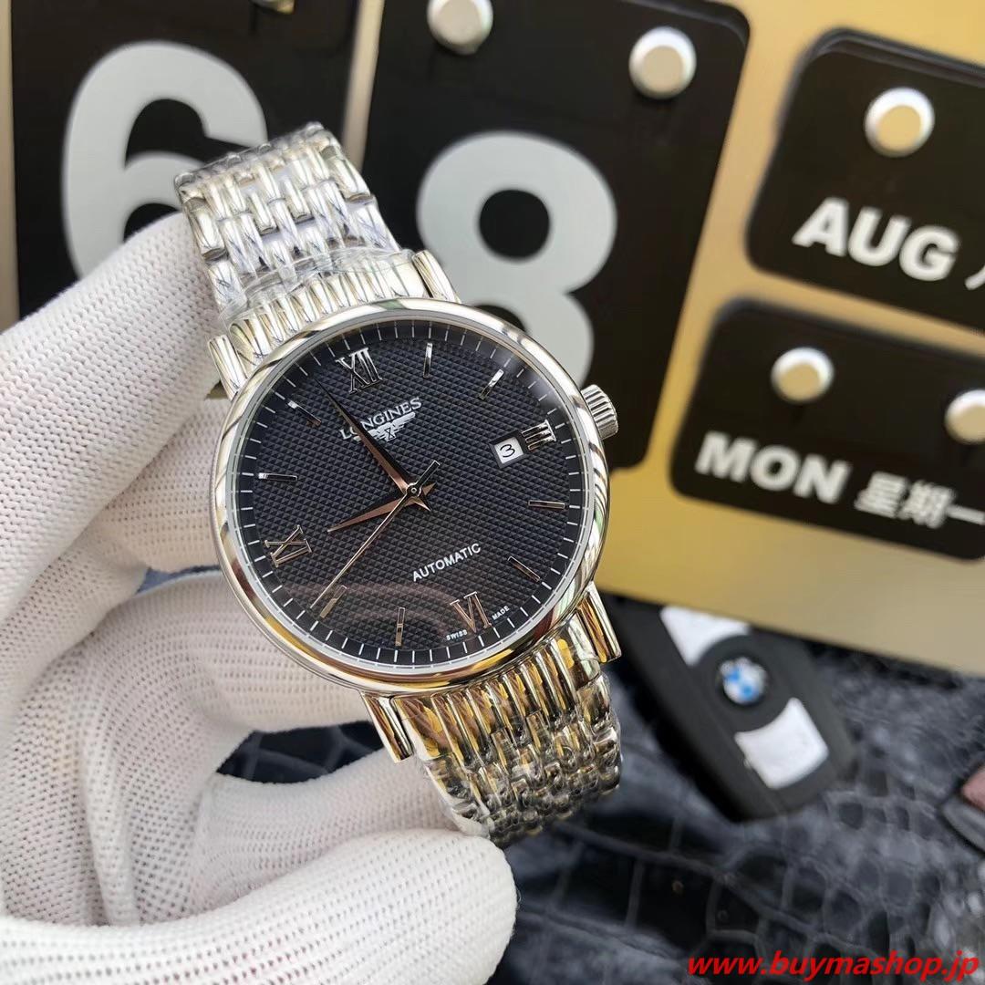 ロンジン オートマチック-コピー 黒シルバー メンズ腕時計 自動巻き 機械式 41mm 時計 ブランド 安い 偽物 オンライン ショップ