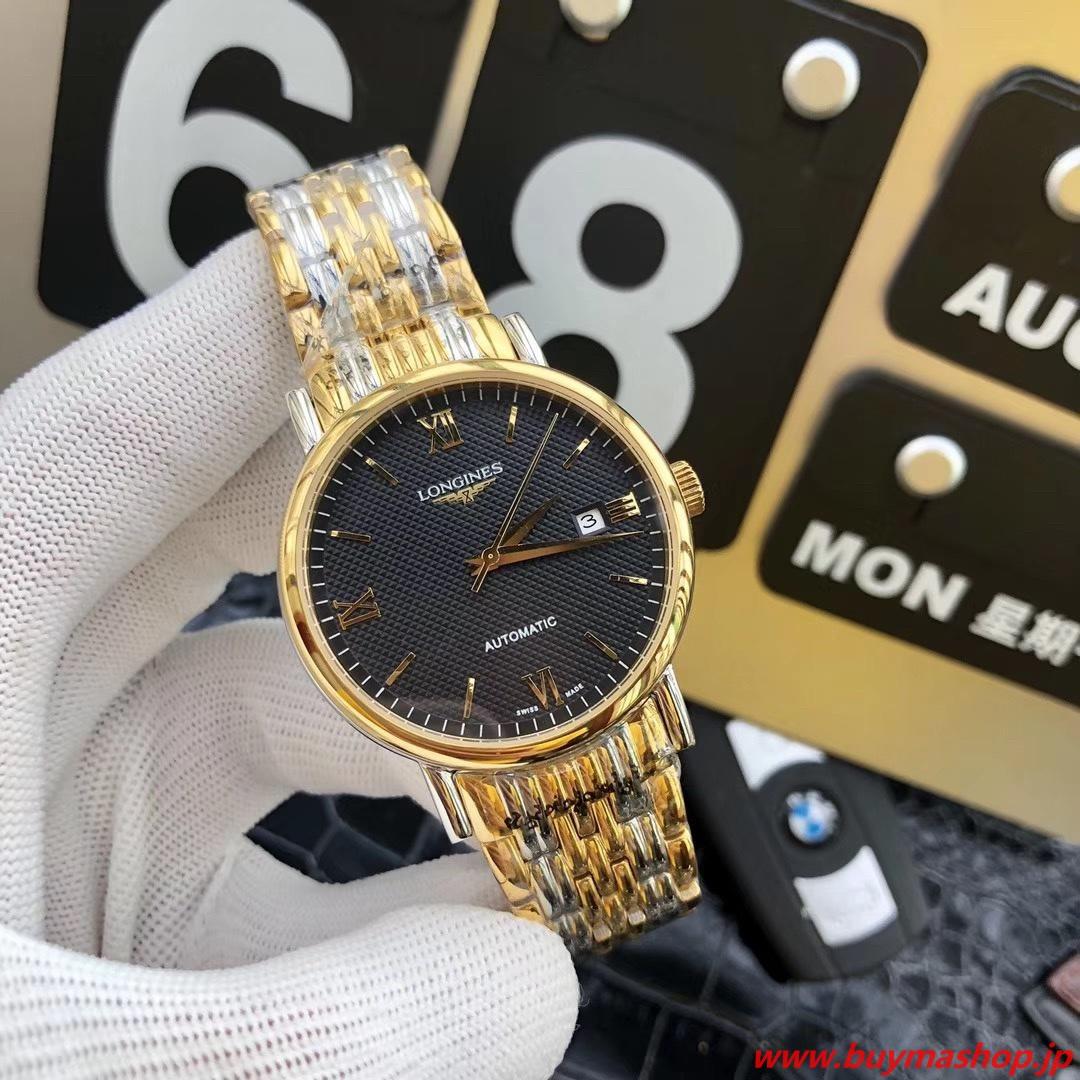 ロンジン 2019-コピー 黒ゴールド オートマチック メンズ腕時計 自動巻き 機械式 41mm 時計 ブランド 安い 偽物 オンライン ショップ