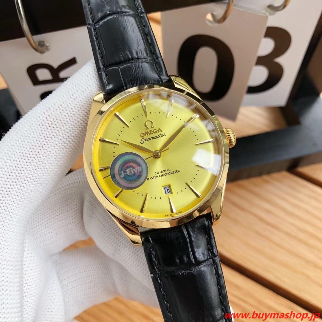 オメガ シーマスター 39.5-偽物 イエロー メンズ腕時計 クロノメーター 廃盤 39.5mm シチズン8215A 時計 ブランド 安い