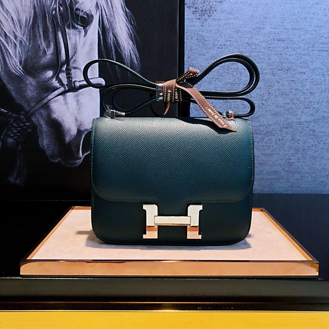 エルメス コンスタンス グリーン-偽物 ミニ レザー ショルダーバッグ ゴールドHロゴ ハンドメイド 19cm 客室乗務員用バッグ