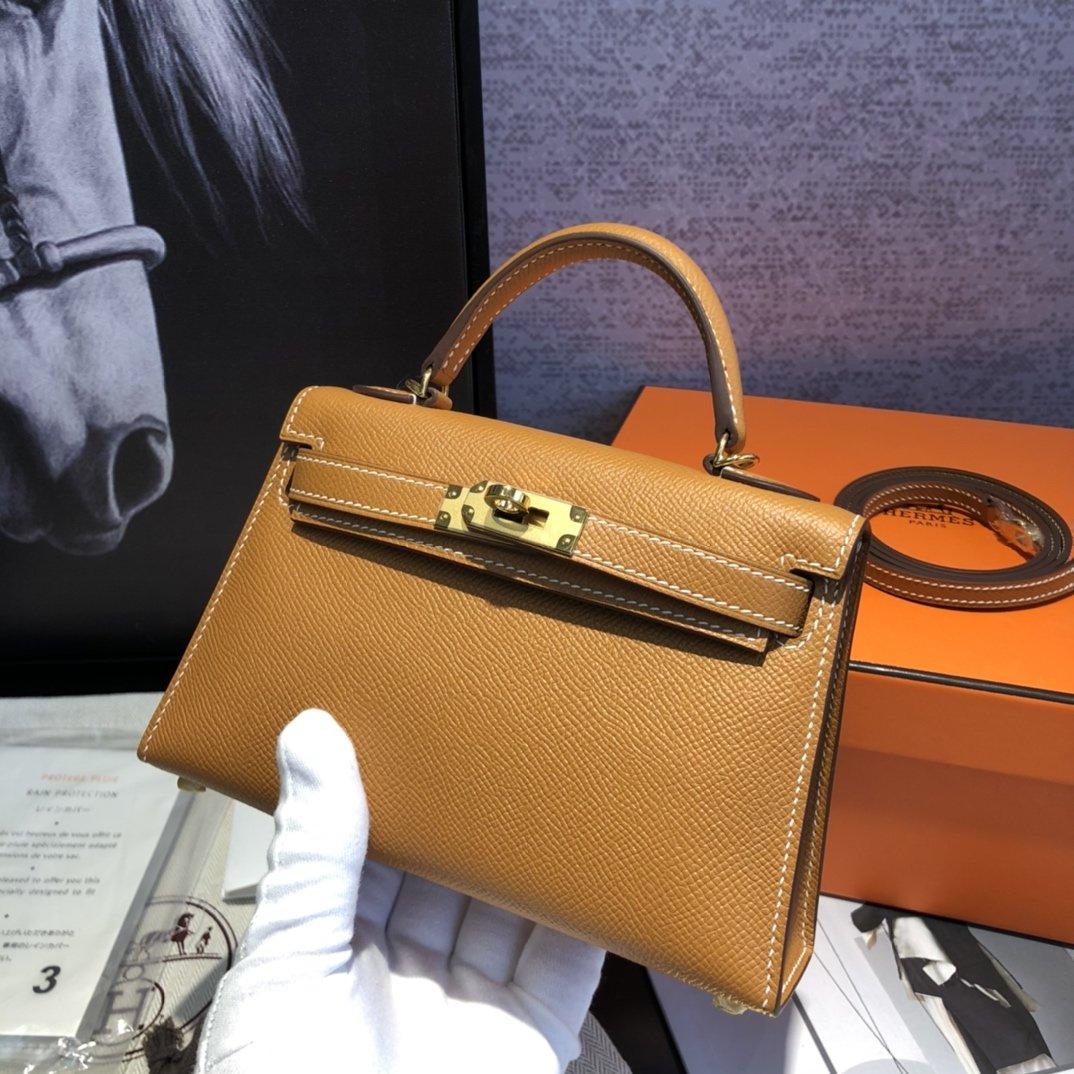 エルメス ケリー インスタ-コピー オレンジ ミニ レザーハンドバッグ 19 二代目 スタッズ 高品質 N級 偽物ブランド販売