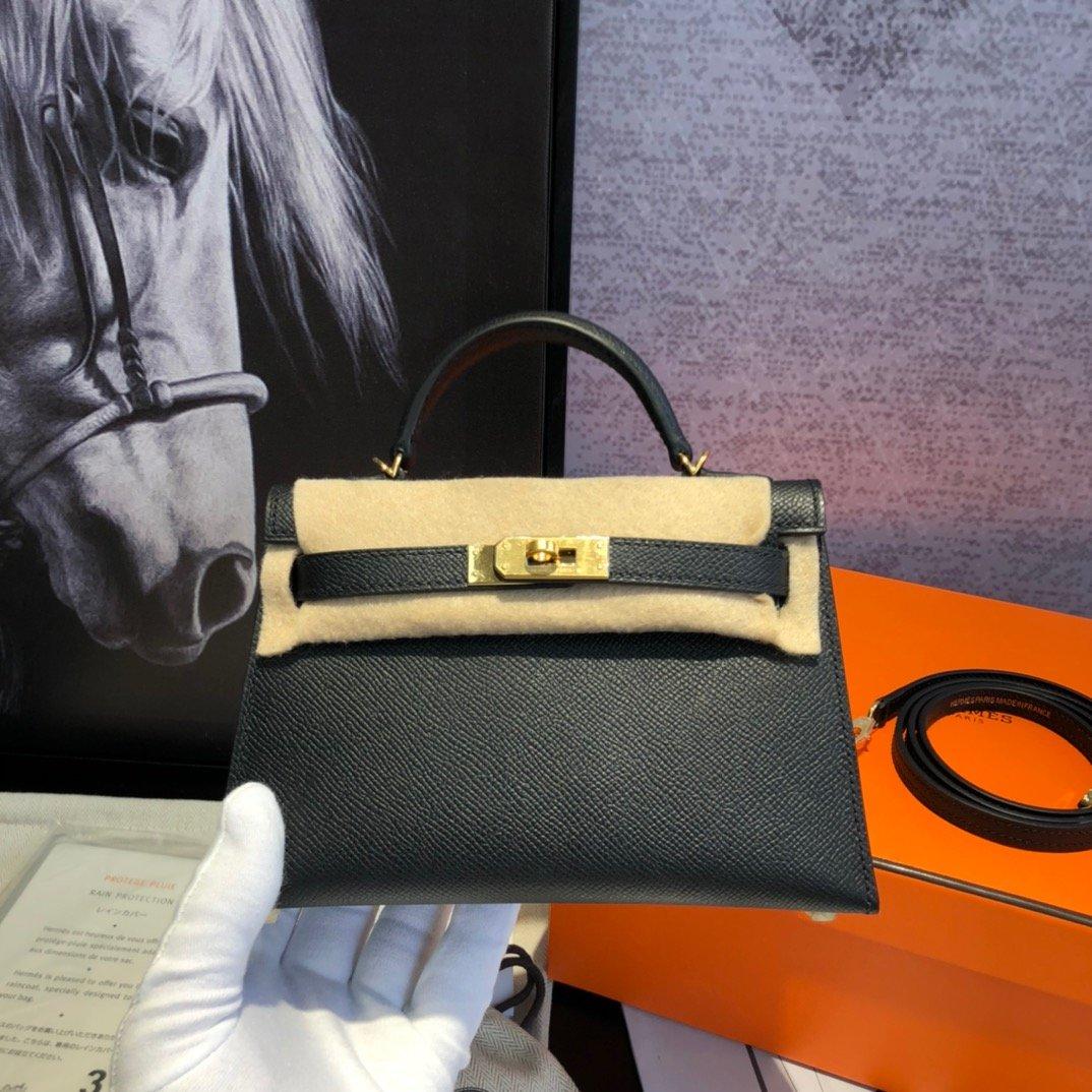 ケリーバッグ 黒-コピー エルメス ミニ レザーハンドバッグ 19 二代目 スタッズ 高品質 N級 偽物ブランド販売