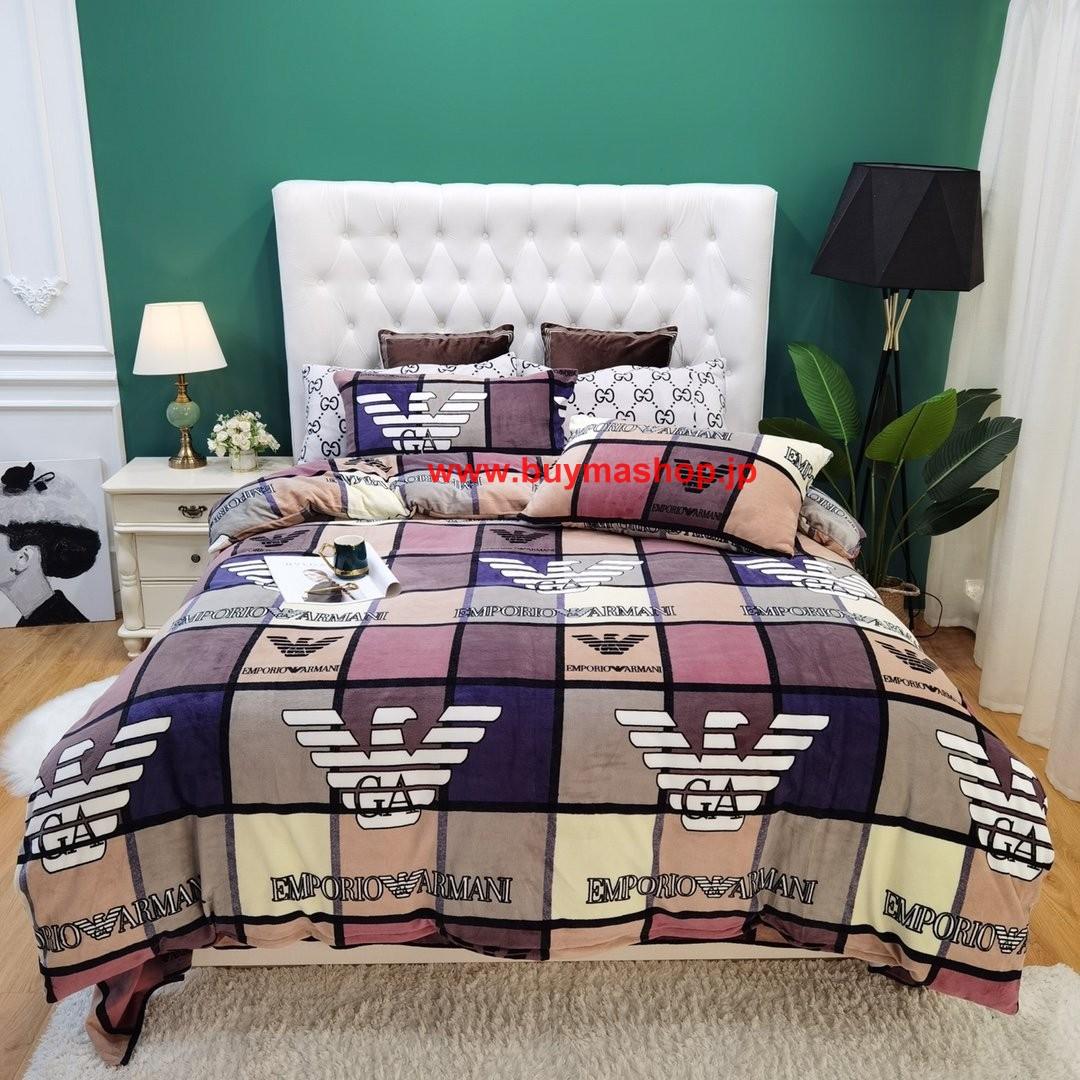 秋冬绒品 高級でおしゃれなブランド寝具布団カバー、ベッドシーツ、枕カバー4点セット