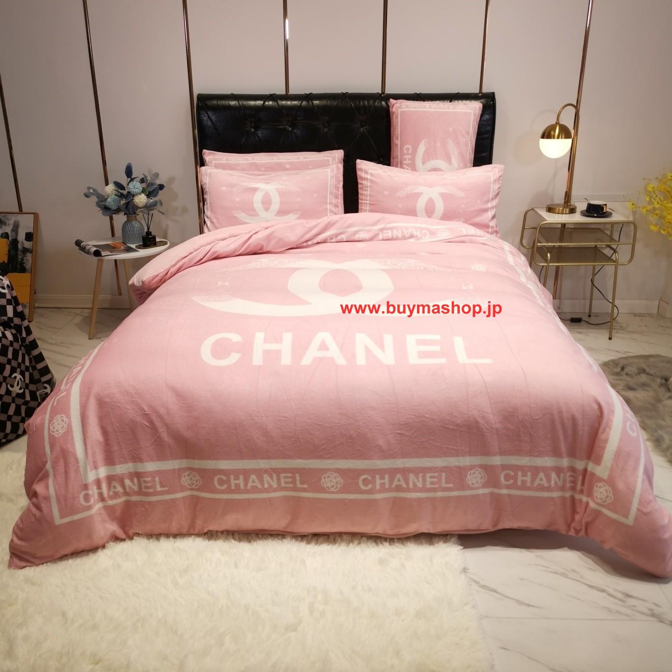 秋冬绒品Chanel シャネル寝具 ブランド 寝具 シーツ ボックス 可愛い 寝具 布団 オーダー メイド ニッセン ボックス シーツ 高級でおしゃれなブランド寝具布団カバー、ベッドシーツ、枕カバー4点セット